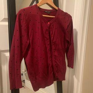 Burgundy cardigan with polka dots